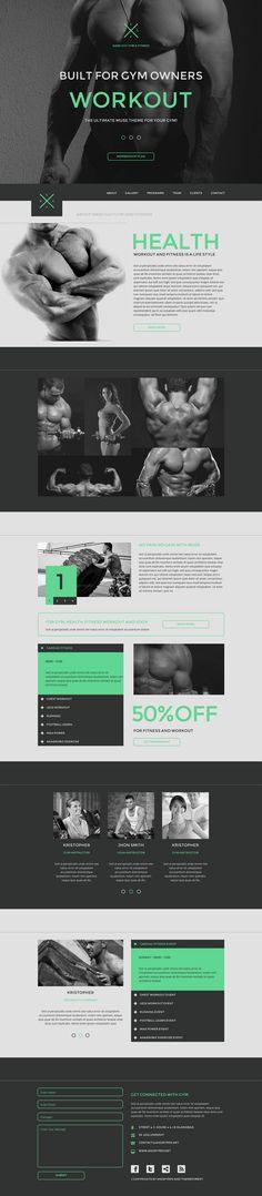 New Fitness Design Inspiration Ideas Website Layout, Web Layout, Layout Design, Logo Design, One Page Website, Fitness Design, Fitness Logo, Gym Fitness, Fitness Motivation