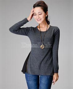 Wool Blend Chiffon Long Sleeve Plus Size Sweater Coat Women T-shirt