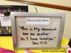 Weekly Bible Verse Provide an inexpensive frame, fun scrapbook paper and a dry erase marker for each driller.  Have them make a Bible Verse Frame they can keep at home and write their Bible Drill Verse on it each week.
