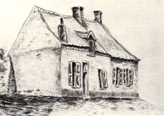 VINCENT VAN GOGH. A House Magros, 1879, charcoal on paper