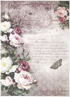 Rice Paper for Decoupage Decopatch Scrapbook Craft Sheet A/3 Vintage Roses Stamp