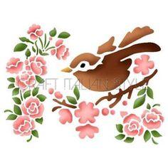 Stencil D 20x15 cm Flor de durazno y el pájarito