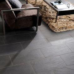 Colours Black Slate Effect Wall & Floor Tile, 300 x 600mm, 5052931059829