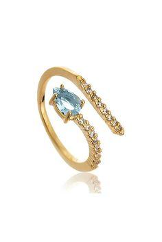 Anel snake azul claro folheado a ouro semi joia