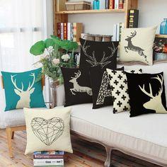 Decorative Chair Seat Throw Cover Elk Deer Pillowcases