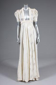 Ossie Clark Ivory Damask Bridget Dress Early 1970s Labelled Quorum