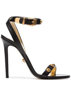 d4461c72fd77e6 Shop online Versace black Medusa Medal 110 leather sandals now with Same  Day Delivery in London.