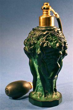 Busacca Gallery - Art Deco green malachite Czechoslovakia Czech art glass perfume bottle & atomizer by Desna Curt Schlevogt