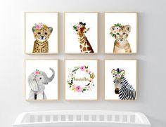 Floral Safari Animals Nursery Print Set Of 6 Safari Nursery Jungle Theme Nursery, Baby Girl Nursery Themes, Baby Animal Nursery, Nursery Art, Nursery Decor, Nursery Prints, Nursery Rugs, Nursery Ideas, Floral Nursery