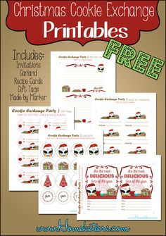 Christmas Cookie Exchange ~ Free Printables #Christmas #Printables