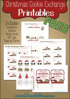 Christmas Cookie Exchange ~ Free Printables #Christmas #Printables