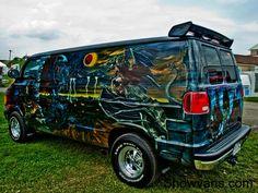 Custom VANS natural BABES & other bad ass transportation. Dodge Van, Chevy Van, Customised Vans, Custom Vans, Vw Camping, Old School Vans, Painted Vans, Cool Vans, Car Painting