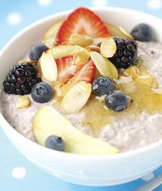 Breakfast recipes: Blackcurrant Bircher      Recipe of the day is this power breakfast recipe of Blackcurrant Bircher by Rachel's Yoghurt. It combines oats, fruit and nuts.    Fact: Oats have been shown to help lower high blood cholesterol and yoghur