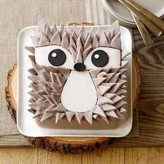 Edgy Hedgehog Cake - Add some spikes of fun to your summer celebration with this fun animal design. He's easy to make when you follow the provided patterns and cut details from Decorator Preferred™ Fondant.