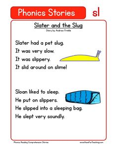 This Reading Comprehension Worksheet - Slater and the Slug is for teaching reading comprehension. Use this reading comprehension story to teach reading comprehension.