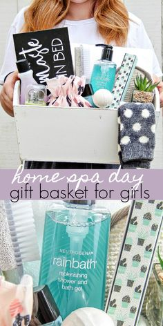 Give the gift of pampering and a home spa day for tween girls, teens, or the lady in your life. They will love these ideas. # diy spa day at home for teens Give The Gift of a Mother Daughter Home Spa Day Spa Day Gifts, Diy Spa Day, Spa Day At Home, Home Spa, Birthday Gifts For Boyfriend, Best Birthday Gifts, Spa Basket, Basket Gift, Corporate Gift Baskets