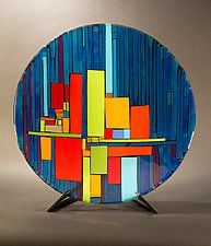 "Line Up by Vicky Kokolski and Meg Branzetti (Art Glass Bowl) (6"" x 19"")"