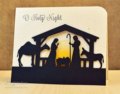 Christmas Card ... like the modern look ... silouette Nativity cut by silouette cutting file ... awesome!!