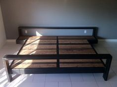 Metal and wood bed frame