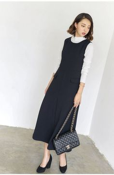 Korean fashion round neck sleeveless dress Free shipping over $70 at AddOneClothing.com Size Chart