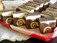Roláda v zákusku - Recepty, Torty od mamy. Hungarian Desserts, Romanian Desserts, Hungarian Recipes, Sweets Recipes, Cookie Recipes, Chocolate Slice, Czech Recipes, Traditional Cakes, Cake Bars