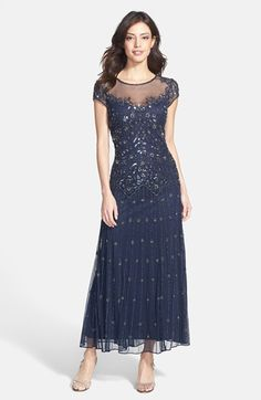 Pisarro Nights Illusion Yoke Beaded Mesh Dress (Regular & Petite) available at #Nordstrom