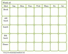 Blank Weekly Meal Plan Template Edit For Free  WwwPicmonkeyCom