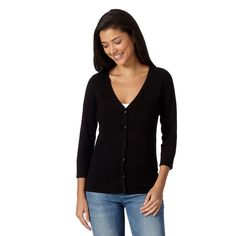 A wardrobe essential, this plain black V neck cardigan features ribbed details on the shoulders, sleeves and hem and has been designed with button fastenings and ´ length sleeves.