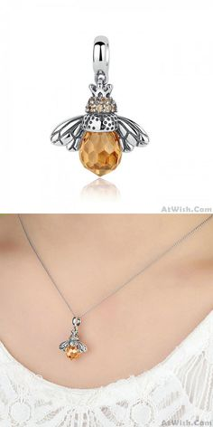 Cheap Original Crystal Bee Pendant Animal Necklace Silver Women Necklace For Big Sale! Pretty Necklaces, Cute Necklace, How To Make Necklaces, Girls Necklaces, Necklace Sizes, Simple Necklace, Unique Necklaces, Silver Necklaces, Crystal Necklace
