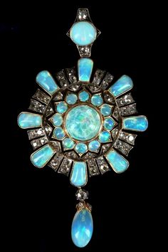 Victorian gold, opal and diamond cluster pendant / brooch.