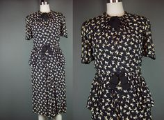 40s Novelty Print Dress Poodle Vintage 1940s Black Tan Rayon Swag Detail Short Sleeve S As Is by mustangannees on Etsy