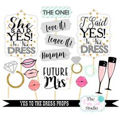 15pc Yes to the Dress Photo Booth Props/Wedding Props/Bachelorette Party - DIGITL FILE by ThePartyGirlStudio on Etsy