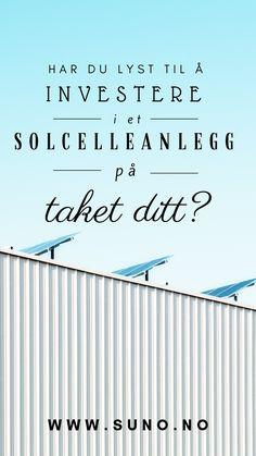Solenergi, solceller, solkraft i Bergen.  Suno er en komplett leverandør av solceller og batteriløsninger i Skandinavia. Vi har base i Bergen men leverer og installerer solceller og solcellepakker i hele Norge.   I Suno er vi lidenskapelig opptatt av produkter og teknologi som gjør hjemmet eller selskapet ditt mer kostnadseffektivt og miljøvennlig.  Vi ønsker å gjøre det lett for deg som forbruker å redusere dine månedlige utgifter, på den måten som passer deg og miljøet best. Letter, Letters, A Letter
