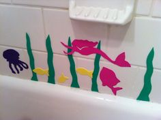Little Page Turners: cut shapes out of craft foam for easy and fun bath-time murals