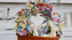 A tisket, a tasket -- make a DIY Easter basket! A wicker basket is the base, but this ribbon-scrap garland accents it in style. Easter Garland, Easter Bunny Decorations, Valentine Gift Baskets, Diy Ostern, Craft Stick Crafts, Diy Crafts, Easter Activities, Easter Crafts For Kids, Easter Baskets