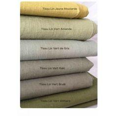 Tissus lin vert kaki: Vente en ligne de tissus en lin, belle gamme de couleur - Sylvette en Goguette