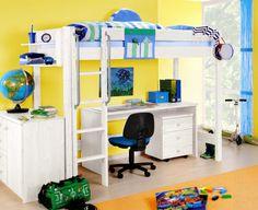 Kinder-Hochbett von SAM in Weiß mit Leiter. Ein Traum für jedes Kinderzimmer. Sehr platzsparend.