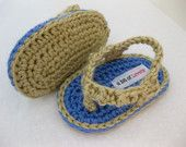 handmade crochet baby flip flop shoes.  newborn baby photo prop.  baby shower gift.  A bit of Lovely on Etsy.