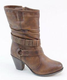 Look at this #zulilyfind! Brown Wrap-Strap Boot #zulilyfinds