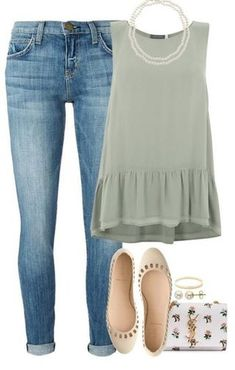 A fashion look from December 2015 featuring green shirt, blue jeans and leather shoes. Browse and shop related looks. Cute Summer Outfits, Spring Outfits, Trendy Outfits, Cute Outfits, Fashion Outfits, Womens Fashion, Casual Preppy Outfits, Casual Clothes, Mode Jeans