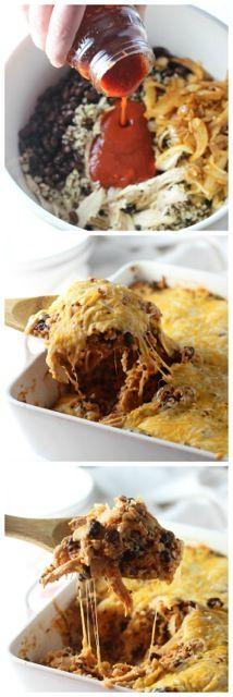 Cheesy Chicken Enchilada Quinoa Bake via cookingforkeeps.com