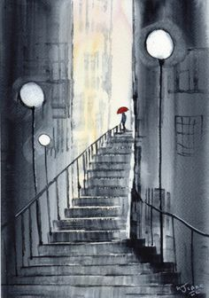 Original Signed Watercolour Painting ~ City Steps, Red Umbrella ~ By KJ CARR