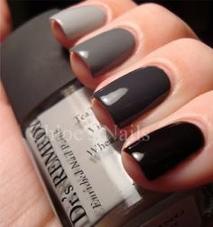 black/grey gradient nails