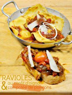 Recette ravioli ou raviole farci au confit d'oignon et poivrons