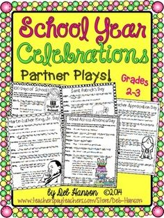 School Celebrations: Partner Plays (five scripts to improve fluency) grades 2-3   (Martin Luther King Day, 100th Day of School, Saint Patrick's Day, Teacher Appreciation Day, Read Across America Day)  $