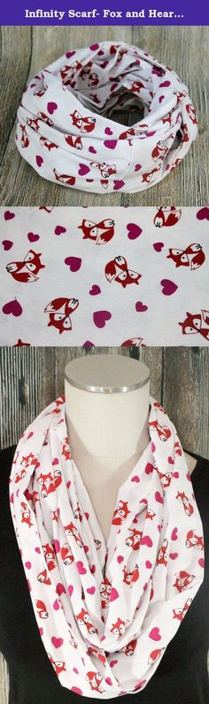 """Infinity Scarf- Fox and Hearts- Cotton Accessories. Oh how I love the endless and effortless styles my infinity scarf gives me! Made of 100% cotton this sweet Fox and Heart print scarf measures 10""""x 33.5"""" and can be looped twice around the neck. All fabrics and prints are carefully selected for style and comfort. Easy to care for machine wash cool and tumble dry low."""