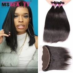 Msbeauty Hair 360 Lace Frontal Msbeauty Hair Brazilian Virgin Hair Straight  Lace Frontal With Bundles Braizilian Hair Pieces