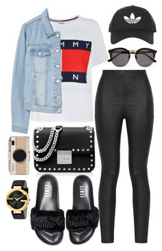 """""""Back again"""" by biancamarie17 on Polyvore featuring Tommy Hilfiger, Armani Jeans, MANGO, MICHAEL Michael Kors, Puma, Illesteva, Gucci, Kate Spade and Topshop"""