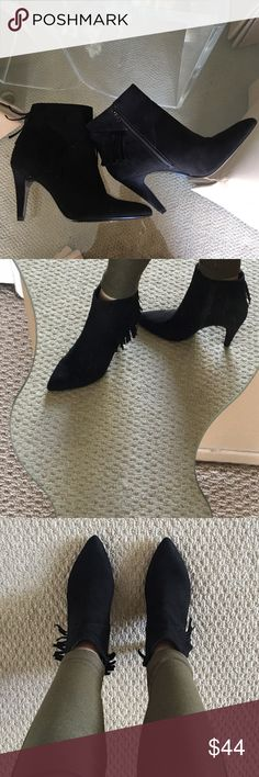 """✨Nine West Brand NWOB Black Suede Fringe Booties✨ Super cute and chic Nine West black suede booties with fringe detail! Side zip, black leather suede upper, manmade lining and sole, 3"""" heel. Brand new without box! ❤️ Nine West Shoes Ankle Boots & Booties"""