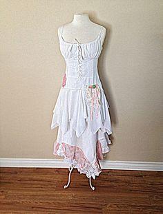 Woodland Fairy Dress   Women's Upcycled Clothing   Shabby Gypsy Chic Clothes   Alternative Rustic Wedding